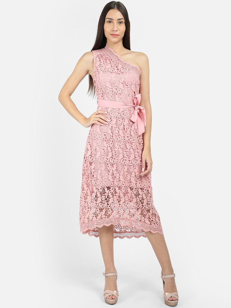 PINK FIT AND FLARE CROCHET DRESS - chique boutique