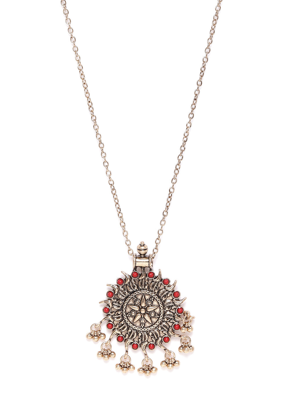 GOLD-TONED & RED ANTIQUE NECKLACE
