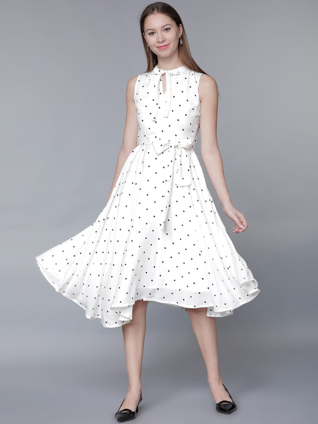 POLKA DOT PRINT FIT AND FLARE DRESS
