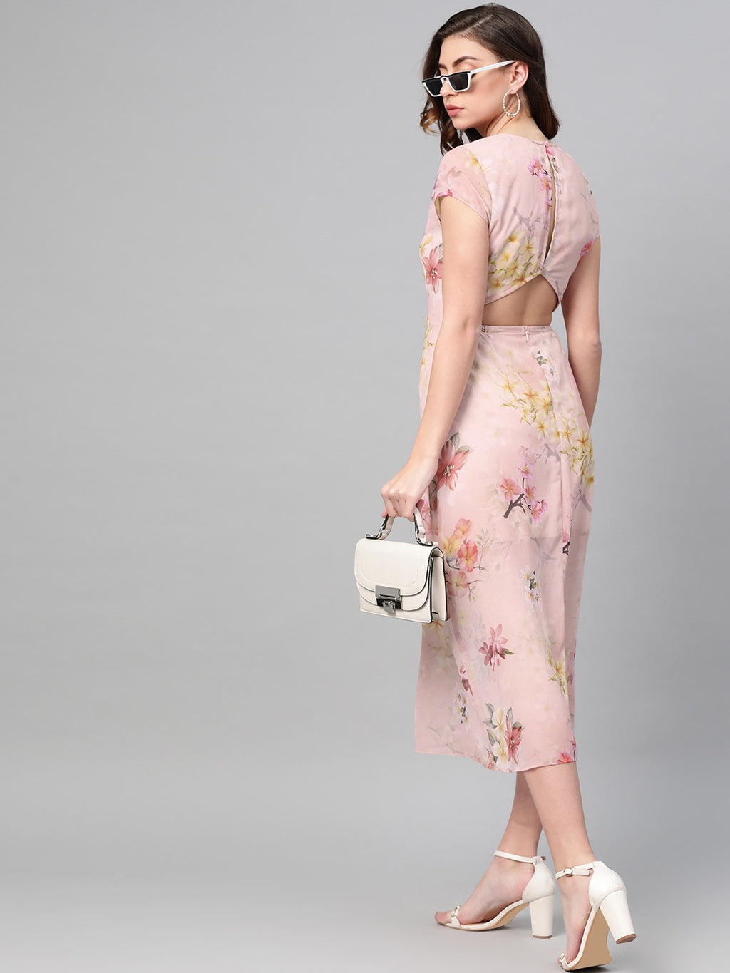 PEACH-COLOURED & PINK PRINTED A-LINE DRESS - chique boutique