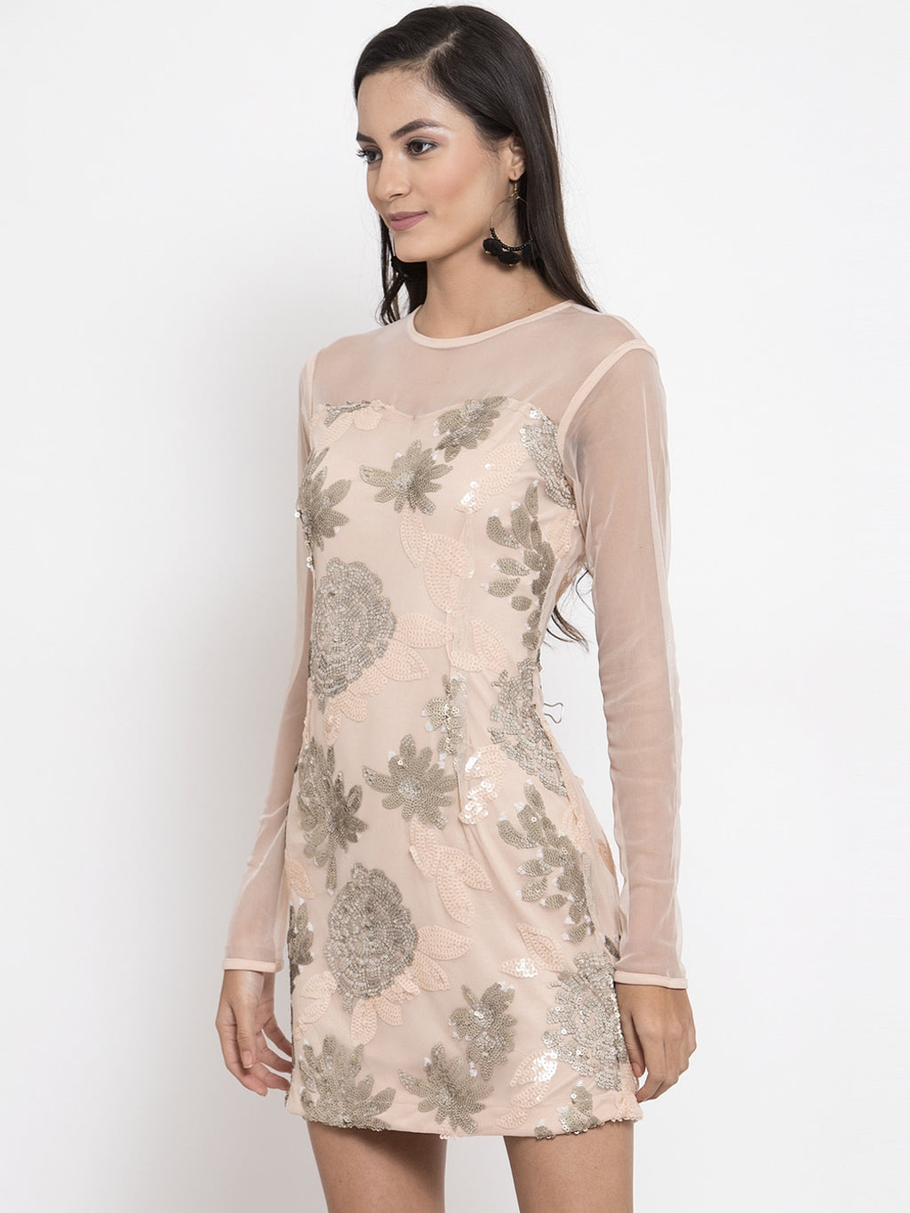 NUDE EMBELISHED SHEATH DRESS