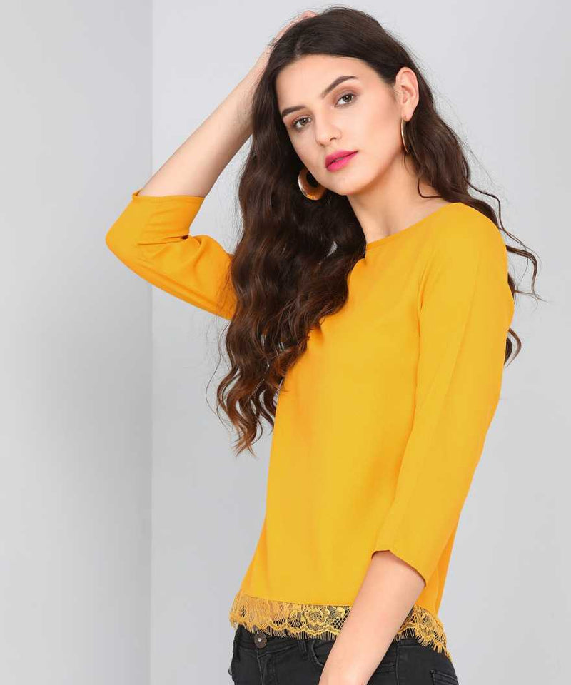 MUSTARD SCALLOPED LACE DETAIL TOP