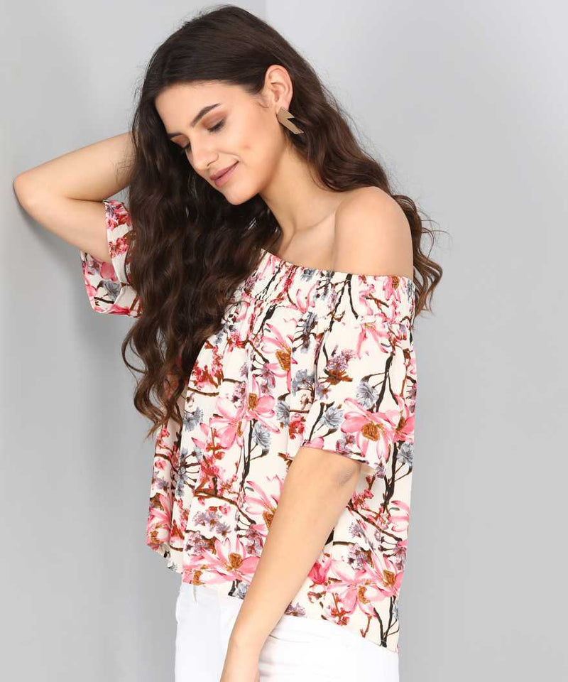 PINK FLORAL OFF SHOULDER TOP