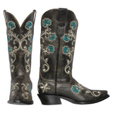 Florence Womens Cowboy Boot - Black, Turquoise