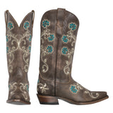 Florence Womens Cowboy Boot - Brown, Turquoise