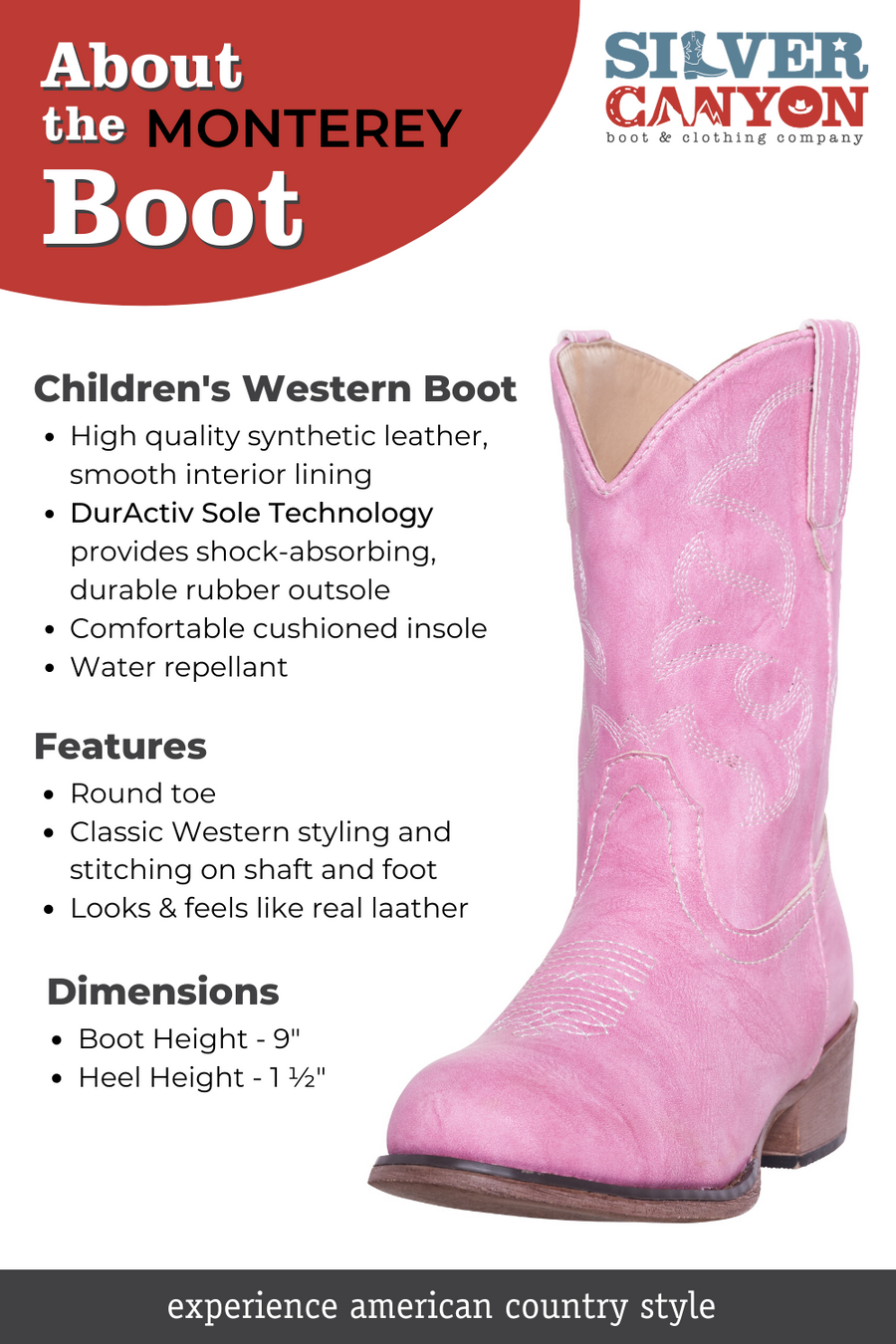Children Western Kids Cowboy Boot | Youth Monterey Black for Boys and Girls by Silver Canyon