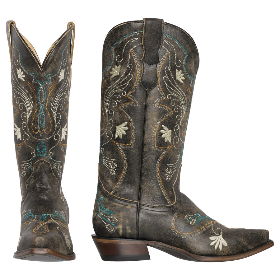 Womens Western Cowgirl Cowboy Boots, Juliet Heritage Square Snip Toe by Silver Canyon, Brown, Cream Flowers