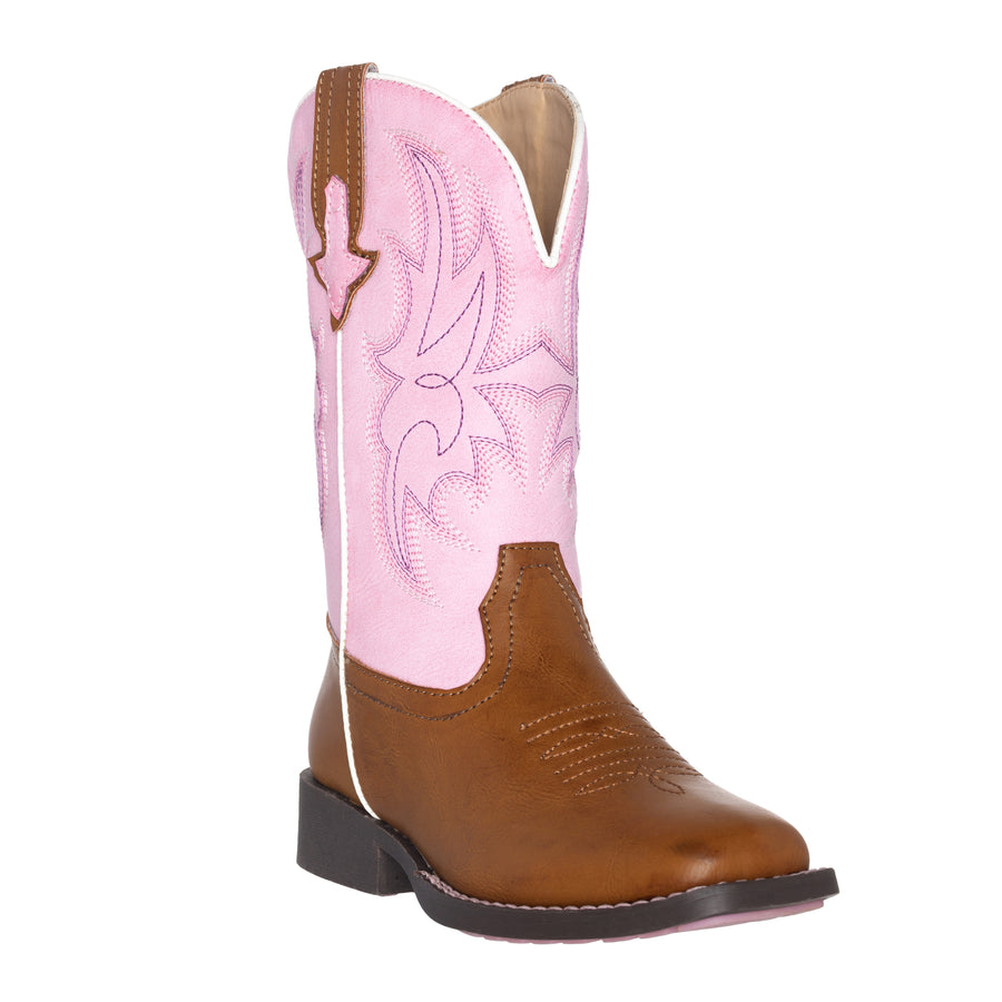 Children Western Kids Cowboy Boot | Austin Pink Brown Square Toe for Girls by Silver Canyon