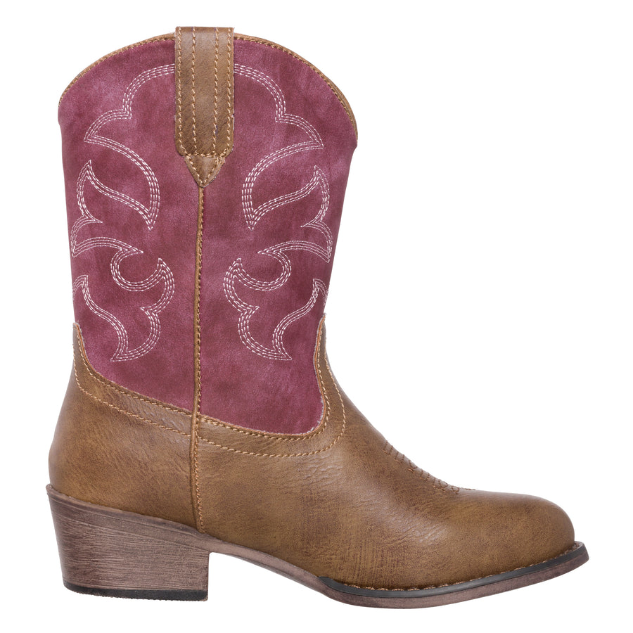 Children Western Cowboy Cowgirl Boot, Monterey by Silver Canyon for Boys and Girls, Vintage Raspberry Brown