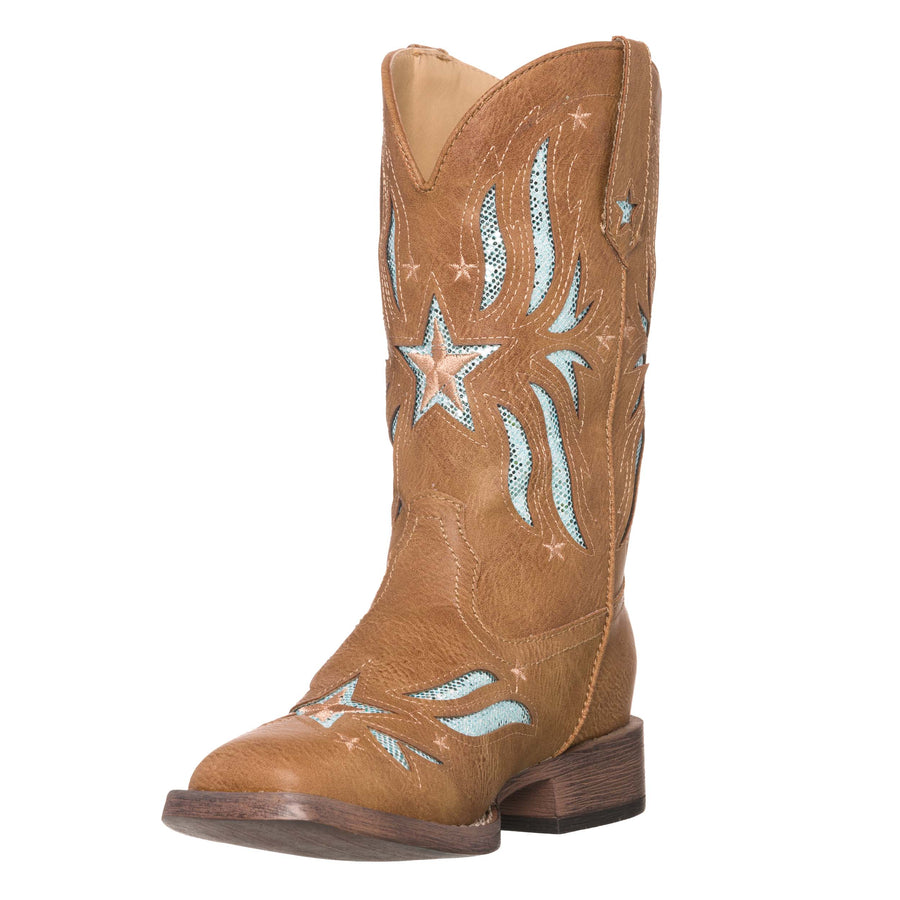 Children Western Kids Cowboy Boot | Star Glitter Tan Square Toe for Girls by Silver Canyon