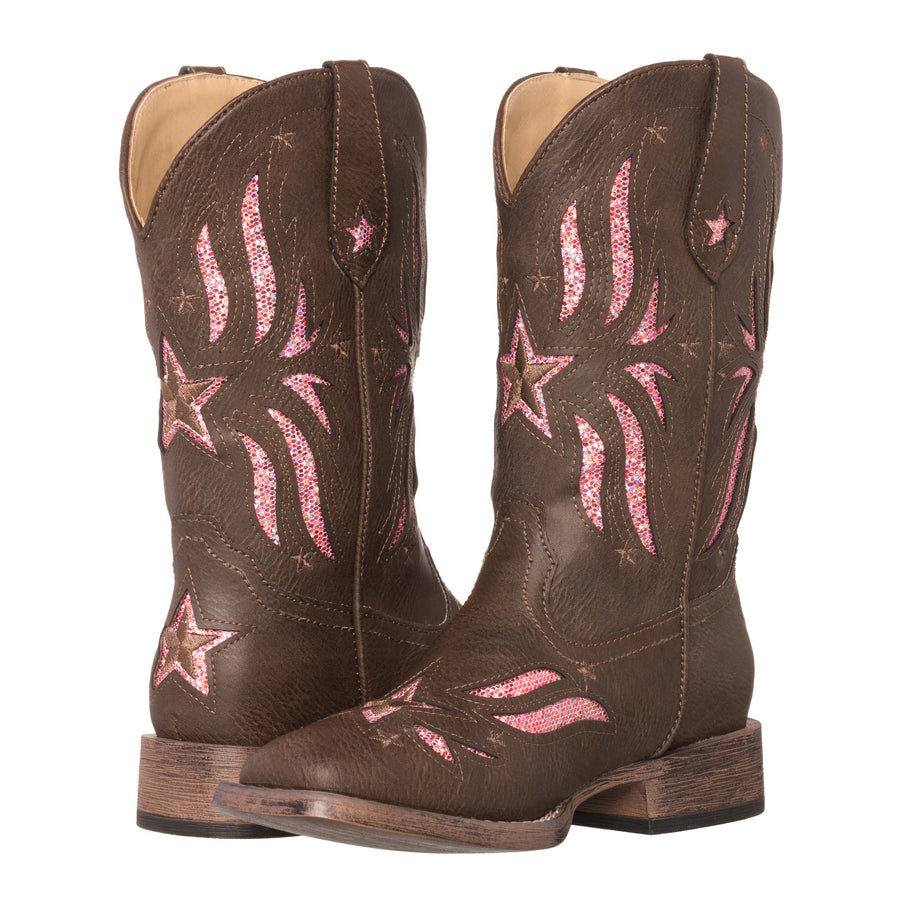 Children Western Kids Cowboy Boot | Star Glitter Brown Square Toe for Girls by Silver Canyon