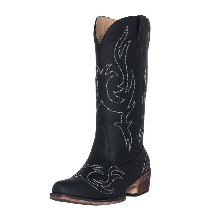 Women's Western Cowgirl Cowboy Boot | Black Reno Square Snip Toe by Silver Canyon