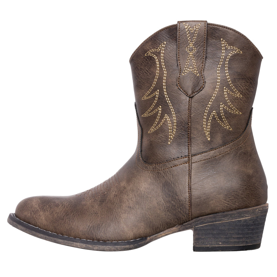 Womens Western Short Cowgirl Cowboy Boot Brown Madison Round Toe by Silver Canyon