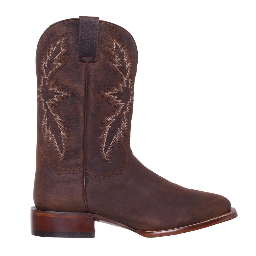 Silver Canyon Mens Renegade Distressed Brown Square Toe Western Roper Cowboy Boot