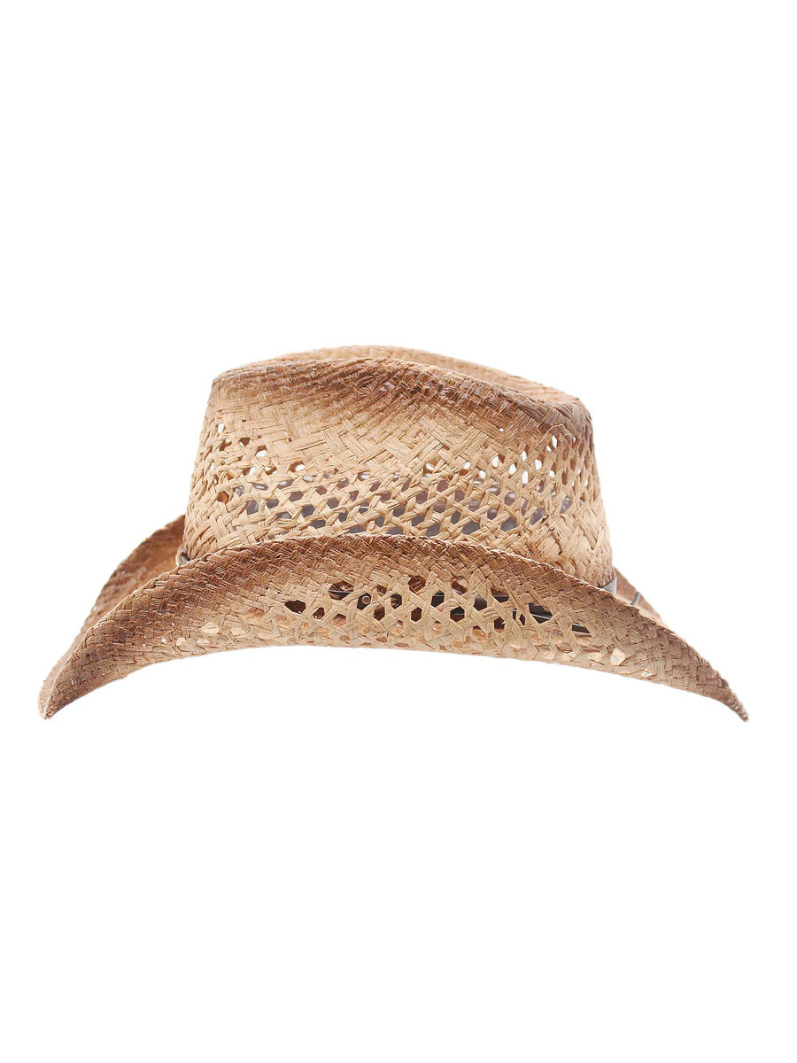 Mesa Raffia Straw Western Cowboy Summer Sun Hat by Silver Canyon, Natural