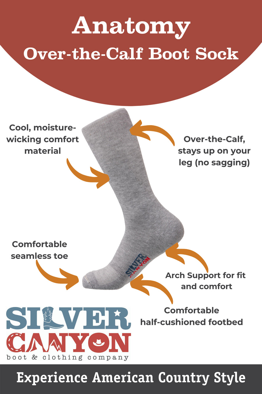 Silver Canyon Western Comfort Cowboy Boot Sock, Over the Calf, (3 Pack)