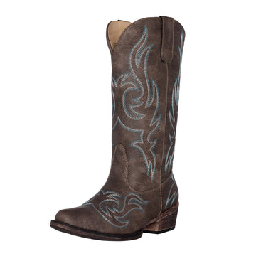 Women's Western Cowgirl Cowboy Boot | Brown Reno Square Snip Toe by Silver Canyon