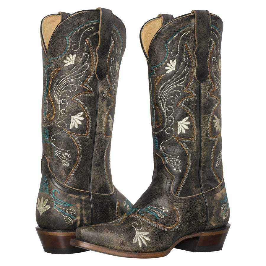 Womens Western Cowgirl Cowboy Boots, Juliet Heritage Square Snip Toe by Silver Canyon, Black, Cream Flowers