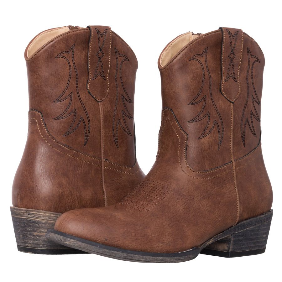 Womens Western Short Cowgirl Cowboy Boot Chestnut Brown Madison Round Toe by Silver Canyon