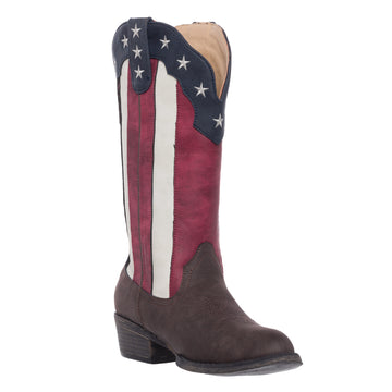 Womens Western Cowgirl Cowboy Boot, Cimmaron Americana Round Toe by Silver Canyon, Flag
