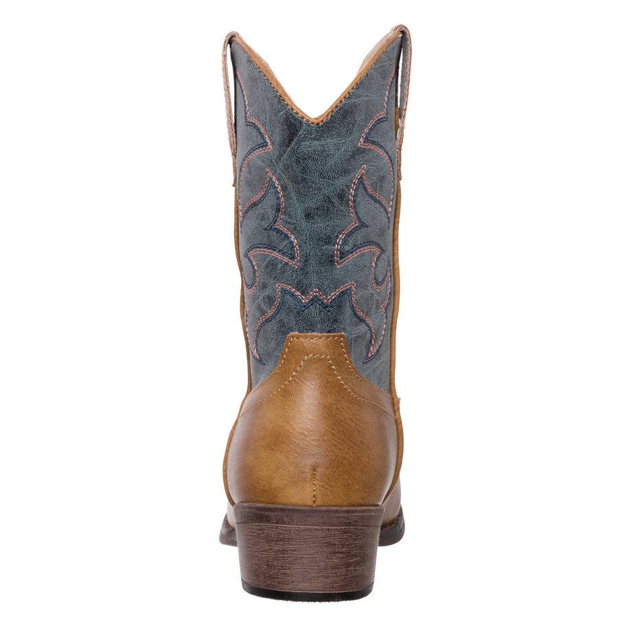 Children Western Cowboy Cowgirl Boot, Monterey by Silver Canyon for Boys, Girls, Vintage Blue Brown