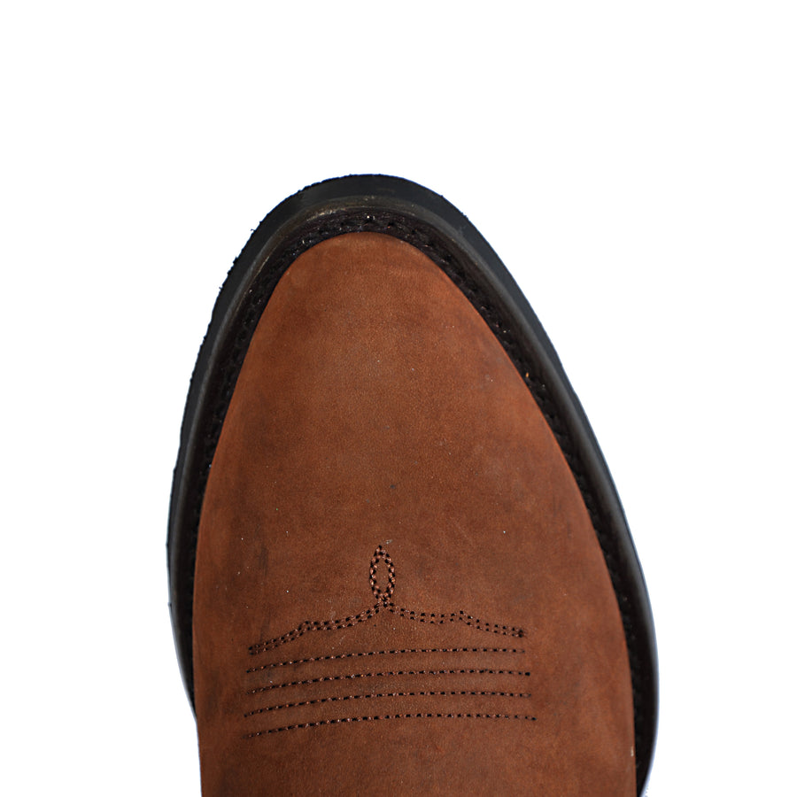 Mens Western Leather Cowboy Boots, Duke Heritage Round Toe by Silver Canyon, Oak Brown