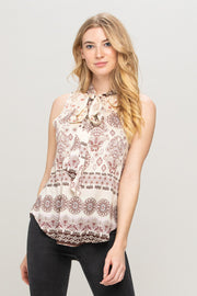 PAISLEY PRINT TOP WITH NECK TIE