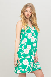 BOLD FLORAL PRINT V-NECK DRESS