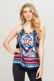 BOHO BORDER PRINT SLEEVELESS TOP
