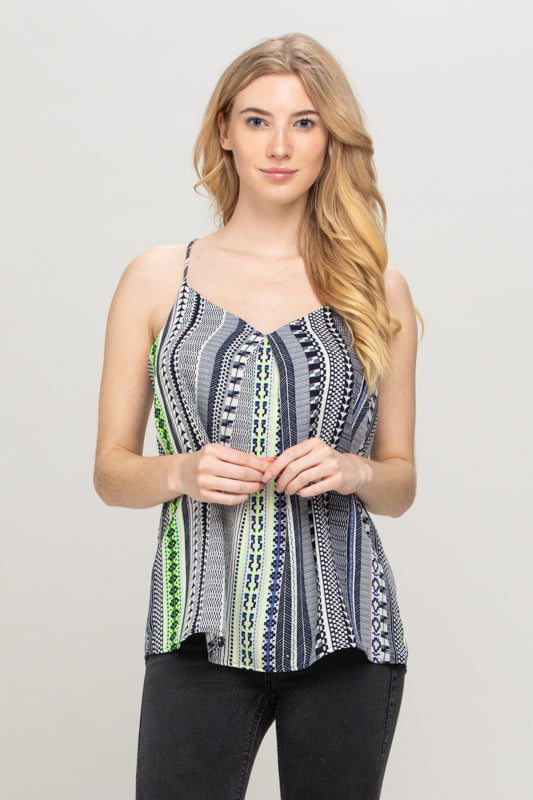 NAVY LIME STRIPED BOHO TOP