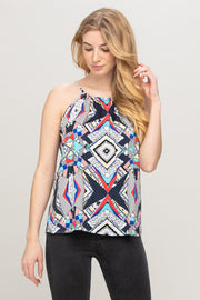 ABSTRACT MULTI COLOR SLEEVELESS TOP