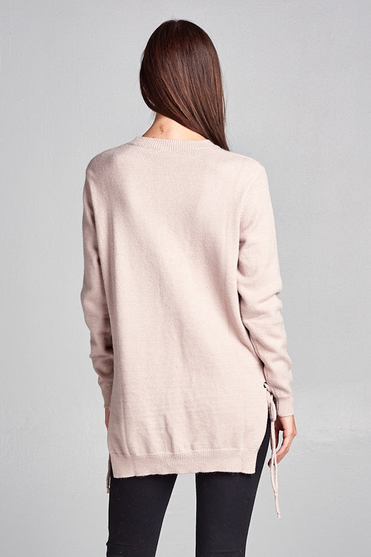 LONG KNIT SWEATER WITH TIE UP DETAIL