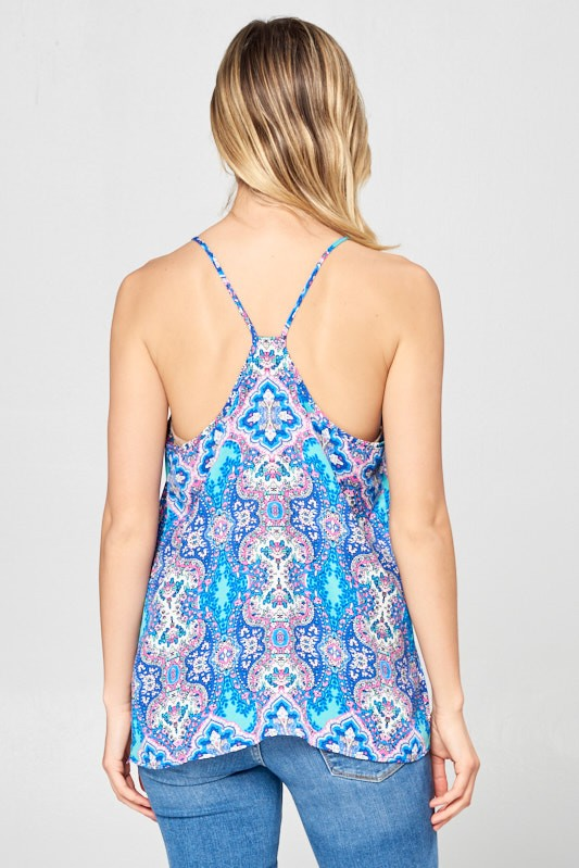 BLUE PAISLEY RACERBACK TOP