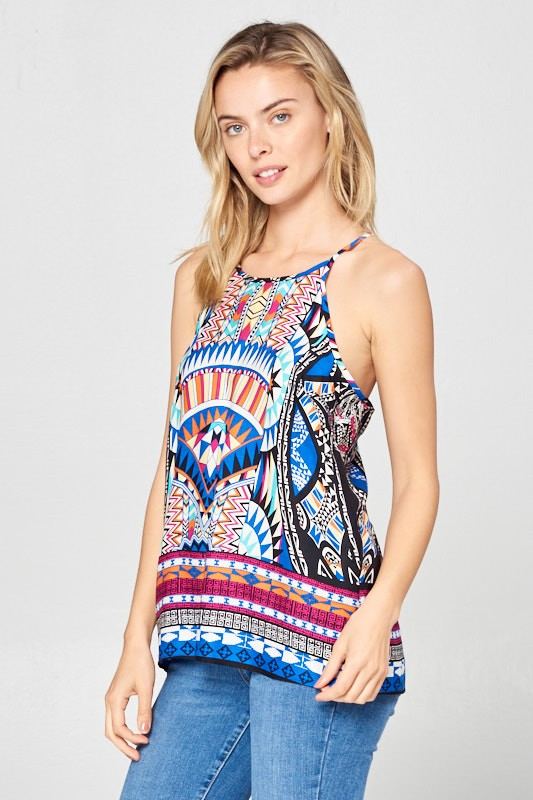 ABSTRACT PRINT RACERBACK TOP