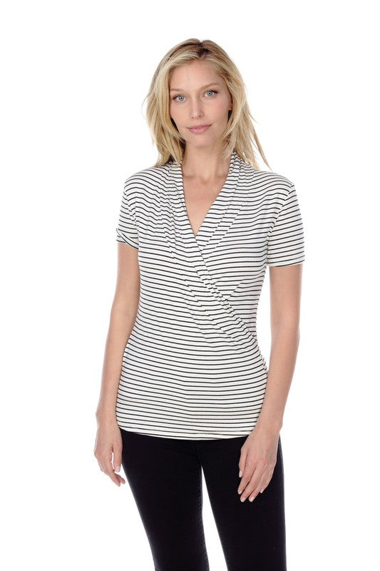 SHORT SLEEVE STRIPED TOP
