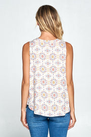 BOHO V-NECK SLEEVELESS TOP