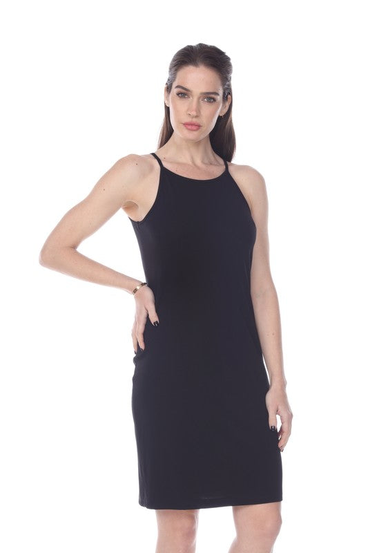 SOLID SLEEVELESS BODYCON DRESS
