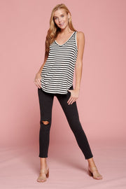 STRIPED SOFT KNIT V NECK SLEEVELESS TOP