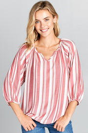 EXTRA SOFT STRIPED TOP WITH RUFFLE NECK