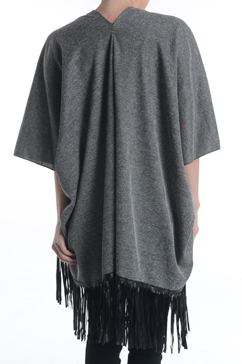 SHORT SLEEVE FRINGE CARDIGAN