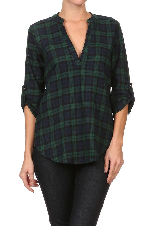 V-NECK PLAID SHIRT