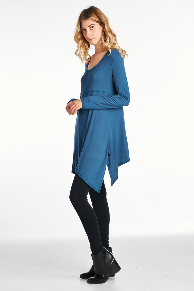 SOLID SCOOP NECK ASYMMETRICAL LONG SLEEVE TUNIC TOP