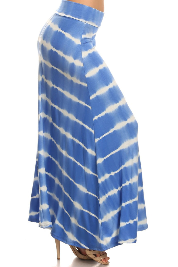 Tie Dye Striped Soft Foldover Maxi Long Skirt