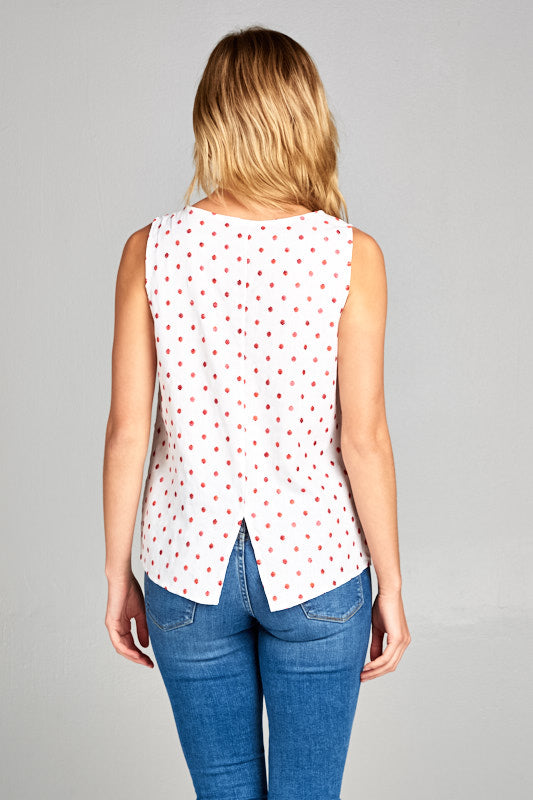 SLEEVELESS POLKA DOT TANK TOP