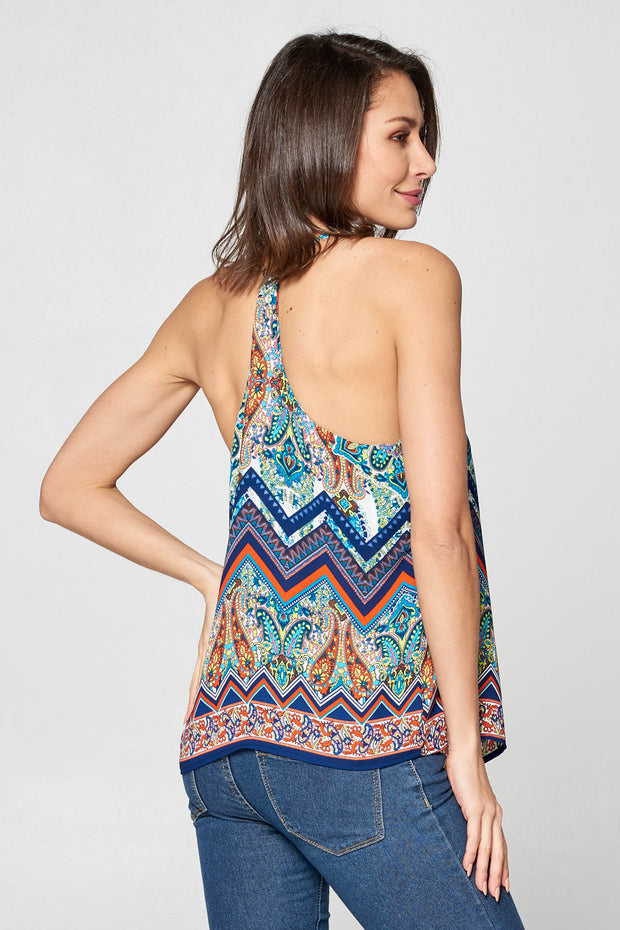 SLEEVELESS V-NECK PRINT TANK TOP