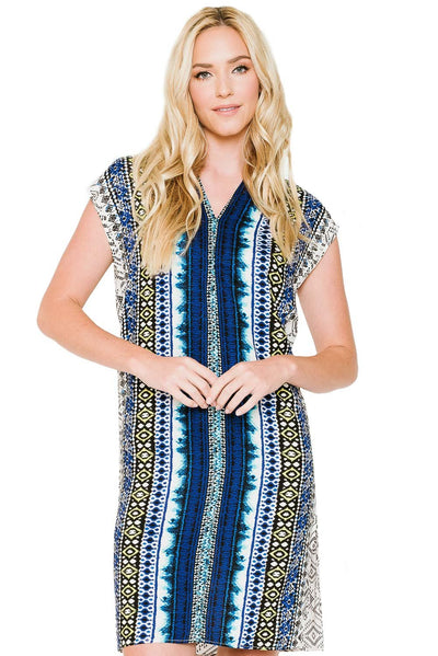 TRIBAL PRINT SHORT SLEEVE TUNIC V-NECK DRESS