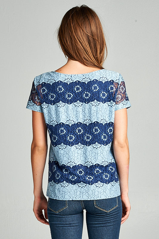 FLORAL LACE SHORT SLEEVE TOP