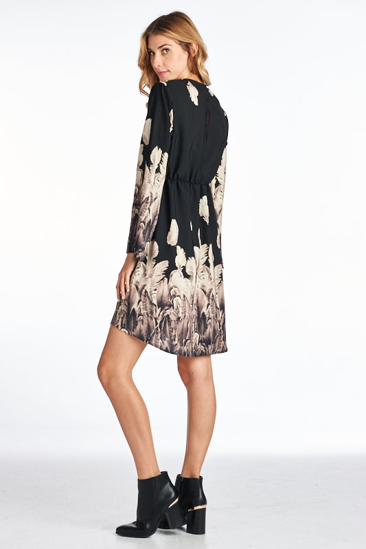 V-NECK FLORAL PRINTED MINI TUNIC DRESS