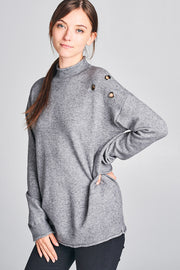 MOCK NECK SWEATER WITH METAL KEYHOLES