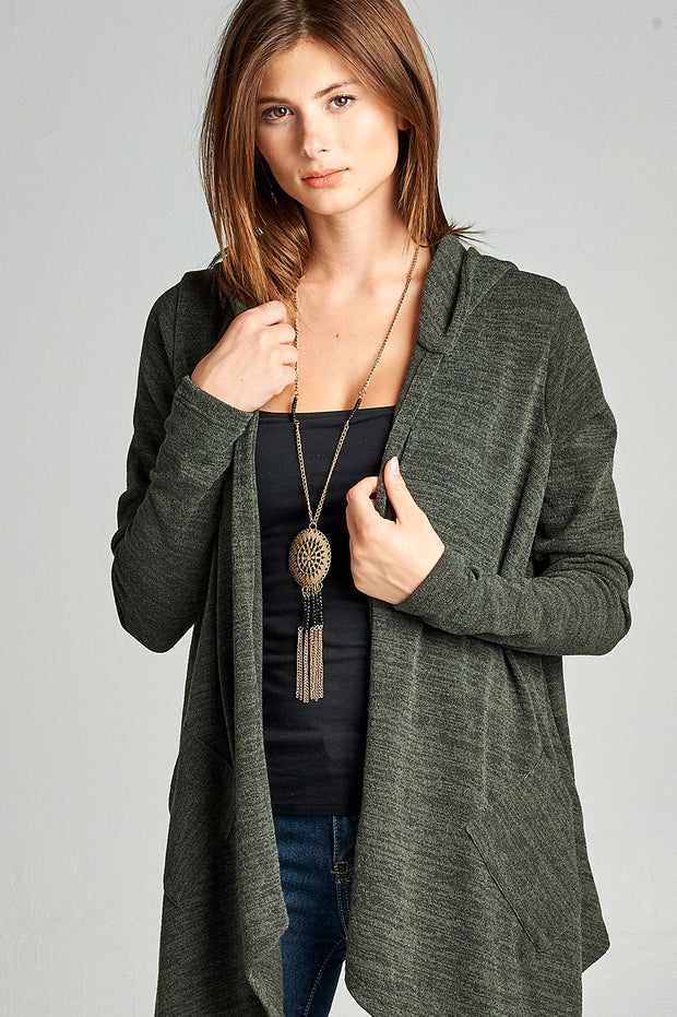 Asymmetric Cardigan Sweater Hoodie with Pockets